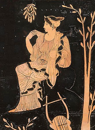 Asteria (Titaness) - Asteria is seated on a rock beside a tree with a lyre and wreath of laurel at her side. These are perhaps her attributes as the personification of the island of Delos and nurse of the god Apollo.