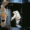 Astronauts Akers and Thornton during Installation of COSTAR into Hubble Space Telescope (27514159934).jpg