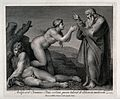 At the bidding of God, Eve ascends praying from Adam's side. Wellcome V0034378.jpg