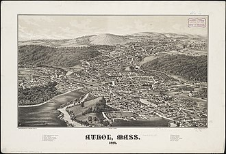 Athol, Massachusetts - Print of Athol from 1887 by L.R. Burleigh with listing of landmarks