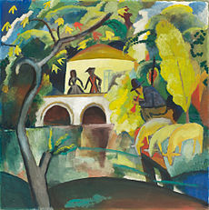 August Macke, 1912, Rokoko, oil on canvas, 89 x 89 cm, National Museum of Art, Architecture and Design, Norway