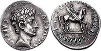 Augustus denarius 19 BC 76001333.jpg