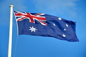 English: Australian flag seen flying in Toowoo...