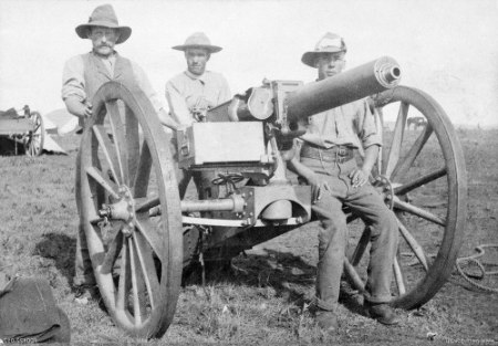 Australian troopers with 1 pounder in South Africa circa. 1901