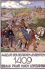 German students move from Prague to Leipzig, postcard around 1910