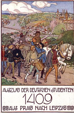 Decree of Kutná Hora - German students leaving Prague for Leipzig (postcard, c. 1910)