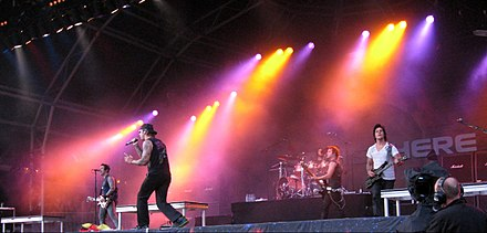 Avenged Sevenfold performing at the Sonisphere Festival on August 2, 2009. This was The Rev's final show with the band before his death. Avenged Sevenfold concert 2009.jpg