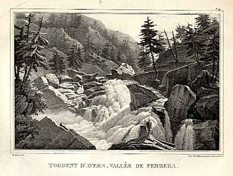 Avers Rhine - The Avers Rhine in Val Ferrera valley, lithograph from 1827