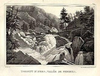 Val Ferrera - Image: Averser Rhein im Ferreratal 1827
