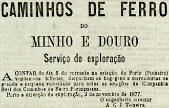 Campanhã railway station - The tender notice issued in 1877 for the exploration of the rail service concession at the Railway Station of Pinehro