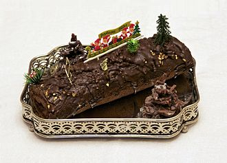 Yule log (cake) - A traditional Yule log (bûche de Noël) made with chocolate filled with raspberry jam.
