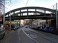 Bělehradská, most železniční spojky Vršovice - Vyšehrad, pohled k Nuslím (01).jpg