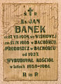 Bachórzec, kościół nowy, tablica Jan Banek.jpg