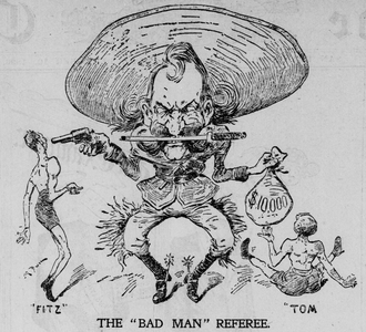 Fitzsimmons vs. Sharkey - A  caricature of Earp from The New York Herald mocking him after the Sharkey-Fitzimmons fight. The image dogged him the rest of his life.