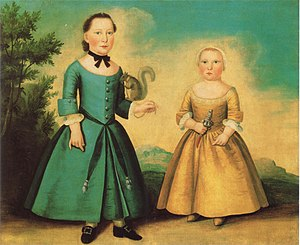 Breeching (boys) - Boston, 1755–1760, boy and (probably) girl