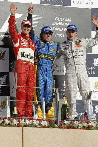 2006 Bahrain Grand Prix - The podium ceremony after the race.