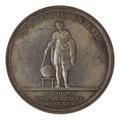 Baksida av medalj med bild av man i antik dräkt, slagen av vetenskaps Akademien 1818 - Skoklosters slott - 99615.tif