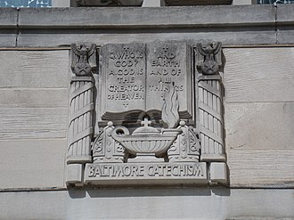 Baltimore Catechism - Baltimore Catechism relief on the Cathedral of Mary Our Queen in Baltimore