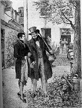 Gravure représentant deux hommes qui discutent en marchant dans une cour sous un arbre.