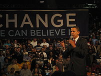 Barack Obama speaking in Houston, Texas on the...