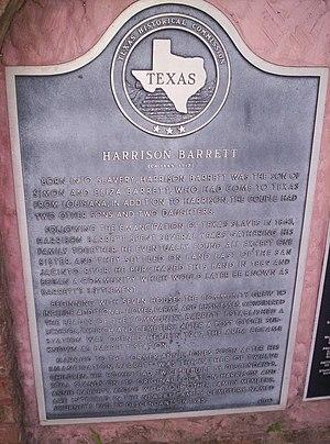 Harrison Barrett - Historical marker commemorating Harrison Barrett in Barrett, TX