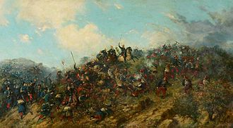 Third Carlist War - The Battle of Treviño, 7 July 1875. Painting by Francisco Oller