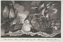 Engraving of two ships exchanging broadsides at night in high seas.