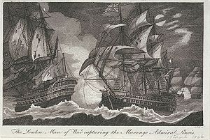"Atlantic campaign of 1806 - The London Man of War capturing the Marengo Admiral Linois, 13 March 1806, Contemporary engraving by ""W. C I"""