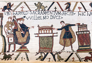 "Harold Godwinson - HAROLD SACRAMENTUM FECIT VVILLELMO DUCI (""Harold made an oath to Duke William""). (Bayeux Tapestry) This scene is stated in the previous scene on the Tapestry to have taken place at Bagia (Bayeux, probably in Bayeux Cathedral). It shows Harold touching two altars with the enthroned Duke looking on, and is central to the Norman Invasion of England."