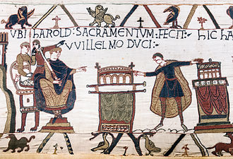 Bayeux Cathedral - UBI HAROLD SACRAMENTUM FECIT WILLELMO DUCI (Where Harold made an oath to Duke William). This scene, which is stated in the previous scene on the Tapestry to have taken place at Bagia (Bayeux, probably in Bayeux Cathedral), shows Harold touching two altars with the enthroned Duke looking on and is central to the Norman Conquest of England. (Bayeux Tapestry)