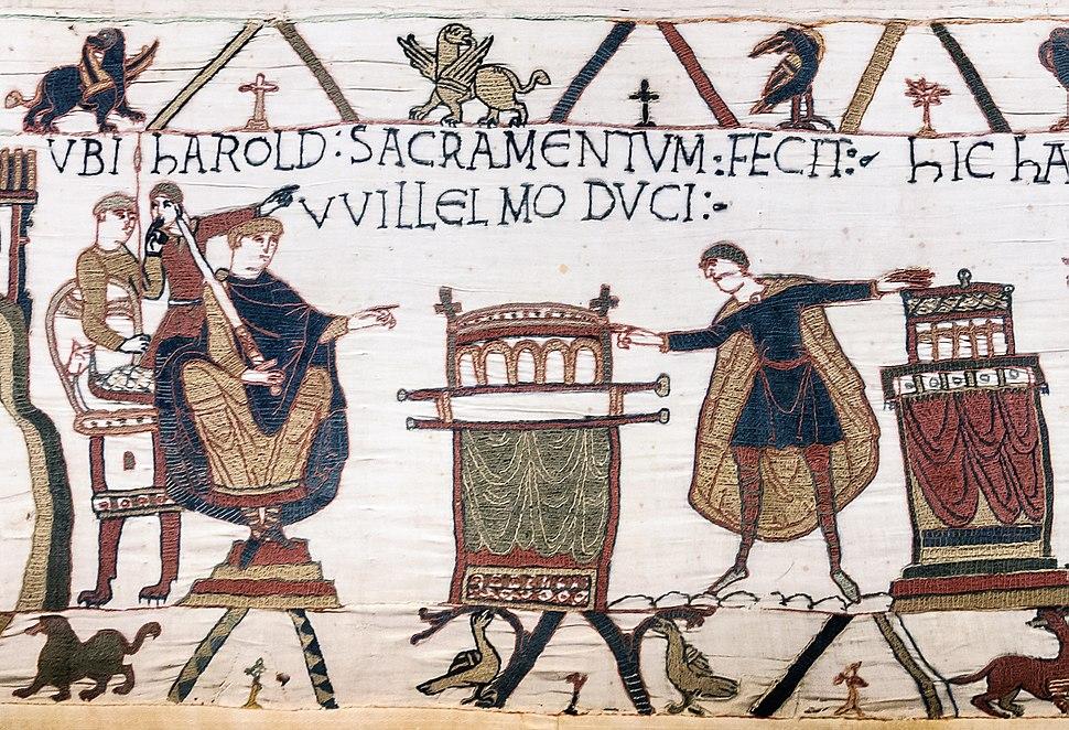 Bayeux Tapestry scene23 Harold sacramentum fecit Willelmo duci