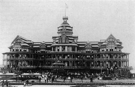 The Beach Hotel catered to vacationers until a fire in 1898. Beach hotel galveston.jpg
