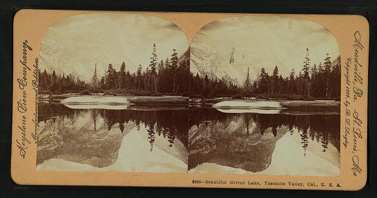 Beautiful Mirror Lake, Yosemite Valley, Cal. U.S.A, by Singley, B. L. (Benjamin Lloyd) 9.jpg