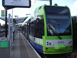 Beckenham Junction tramstop look west with Tram 2543.JPG