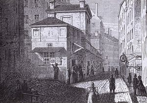 Benickebrinken - Drawing by A O Mankell showing the location in 1865 viewed from the same spot as the photo below.