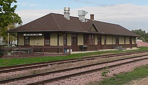 National Register of Historic Places listings in Union County, South Dakota - Image: Beresford, SD depot from SE 1