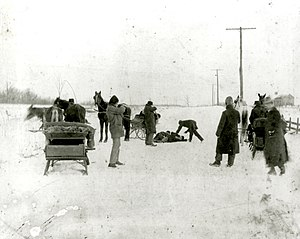 Jack and Ed Biddle - Capture of the Biddle Brothers, January 31, 1902, showing the sleigh in which they and Soffel had attempted to escape authorities.