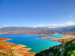 Panoramic view of the artificial lake of Bin el Oiudane located 1km east of the village of the same name