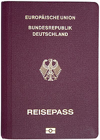 Couverture d'un passeport biométrique allemand.