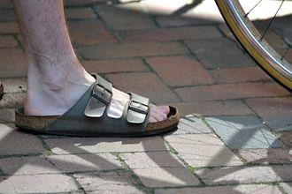 Slide (footwear) - A pair of Birkenstock slides.
