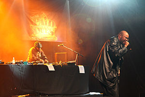 Blackalicious - Blackalicious duo Chief Xcel (left) and Gift of Gab performing at the Paid Dues hip hop