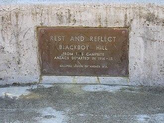 Blackboy Hill, Western Australia - Image: Blackboy Hill seat plaque