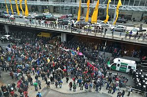 Blockupy movement - A Blockupy protest at Frankfurt Airport in 2013.