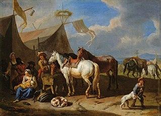 Scena obozowa z kobietą karmiącą dziecko