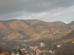 Boč Mountains and Rogaška Slatina below them