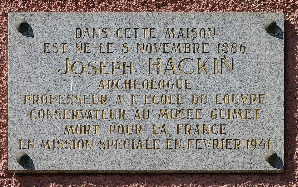 Plaque on the birth house of Joseph Hackin (1886-1941) in Boevange-Attert, Luxembourg.