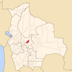 Location of the Tiraque Province within Bolivia