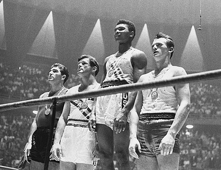 Cassius Clay, later Muhammad Ali, (second from right) at the 1960 Olympics Boxing light-heavyweight 1960 Olympics.jpg