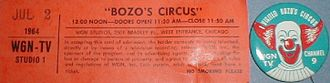 The Bozo Show - Unused ticket and pin for Bozo's Circus, 1964.