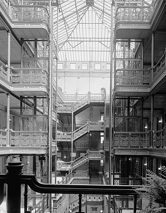 Sumner Hunt - Interior atrium of Bradbury Building, Downtown Los Angeles.